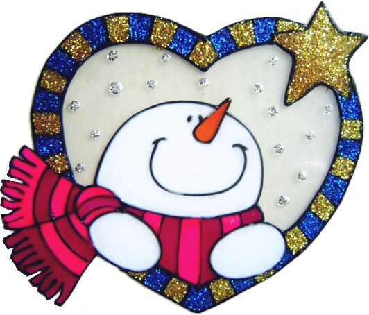 1141- Snowman Heart - Handmade peelable static window cling decoration