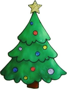 1143 - Christmas Tree with Baubles handmade peelable window cling decoration
