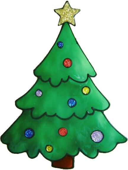 1143 - Christmas Tree with Baubles handmade peelable window cling decoratio