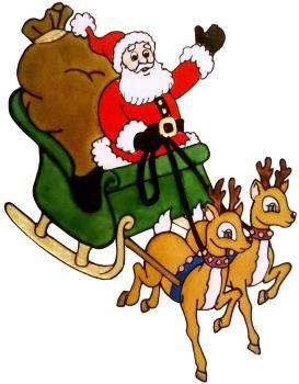 1271 -  Santa and Sleigh  - Handmade peelable static window cling decoration