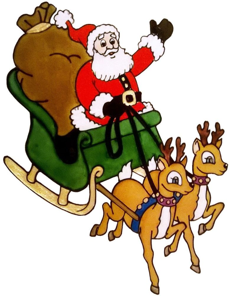 1271 -  Santa and Sleigh  - Handmade peelable static window cling decoratio
