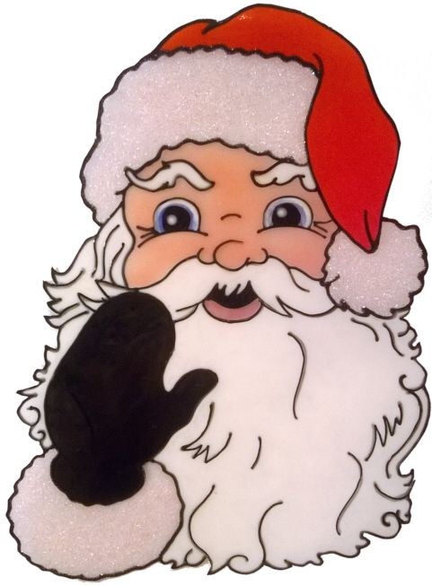 1227 - Large Santa Face christmas handmade peelable window cling decoration