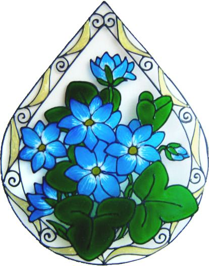 1176 - Elegant Teardrop Floral handmade peelable window cling decoration