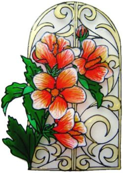 1179 - Elegant Floral Arch handmade peelable window cling decoration