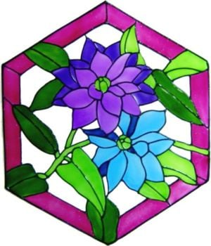 1097 - Clematis Panel handmade peelable window cling decoration