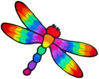 1129 - Rainbow Dragonfly handmade static window cling decoration