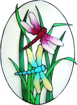 1174 - Dragonflies Oval Frame Handmade Peelable window cling
