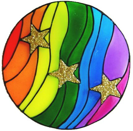 1182 - Rainbow Planet & Stars handmade peelable window decoration