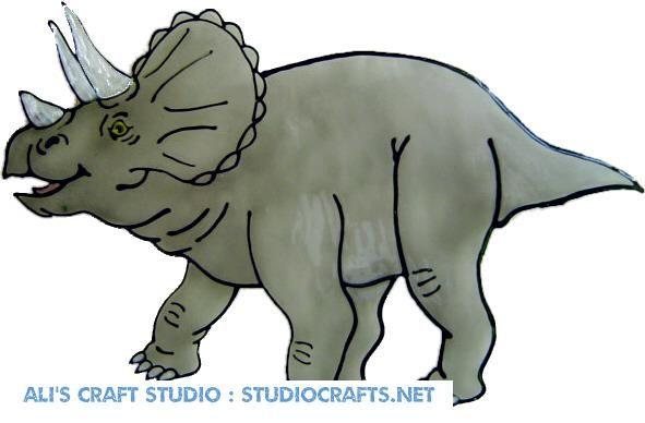 1231 - Triceratops Dinosaur handmade peelable window cling decoration