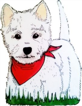 1262 - Cute Westie - Handmade peelable static window cling decoration