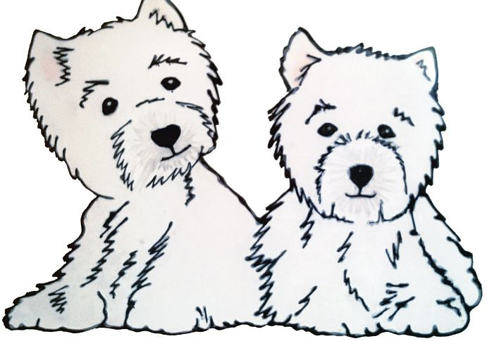 1261 -  Westie Puppies - Handmade peelable static window cling decoration