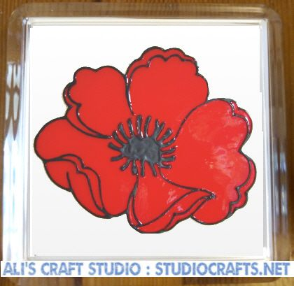 1308 - Poppy Coasters (95mm square)
