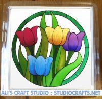 1308 - Colourful Tulip Coasters (95mm square)