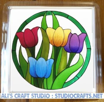 1308 - Colourful Tulip Coasters (95mm square)