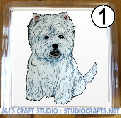 1308 - Westie Dog Coasters (95mm square)