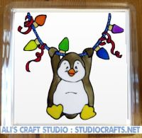1308 - Christmas Lights Penguin Coasters (95mm square)