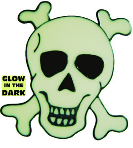 873 - Glow in the Dark Skull & Crossbones handmade peelable window cling decoration