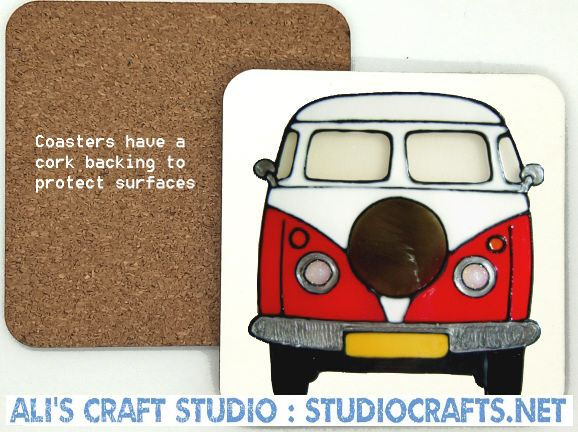 Red Campervan - Wood & CorkCoaster.jpg