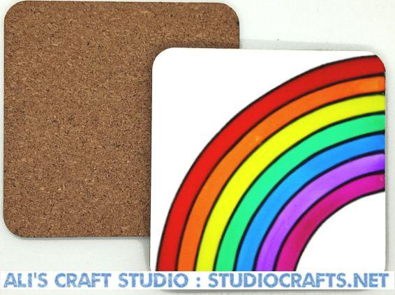 1308 - Rainbow Coasters (95mm square)