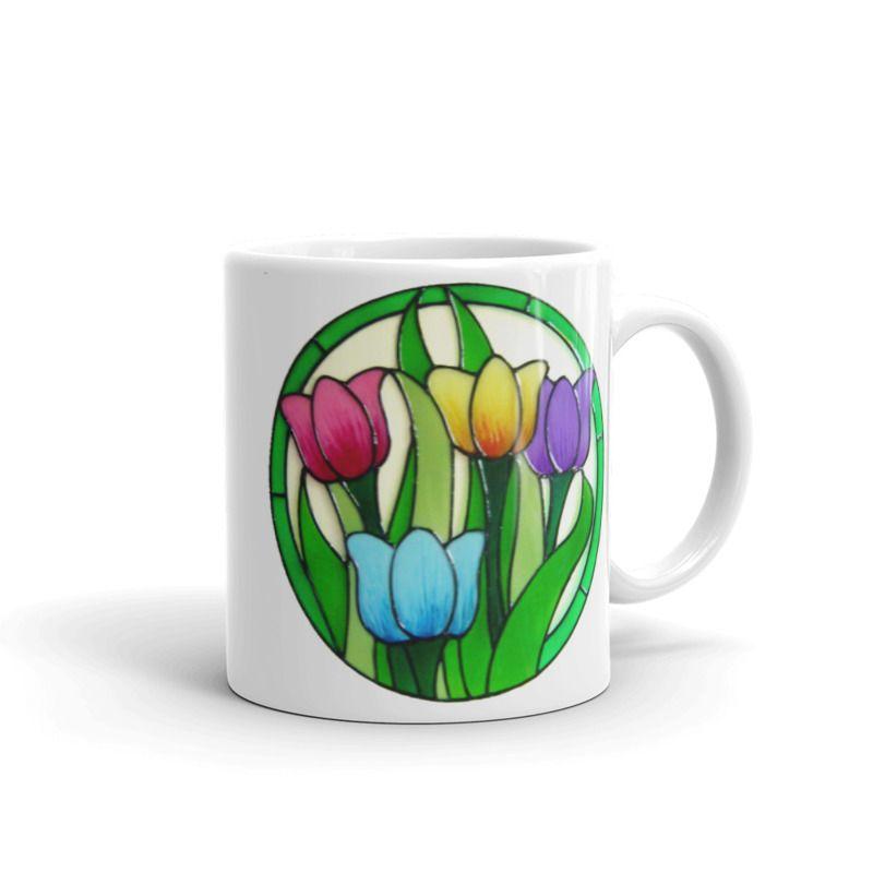 1319 - 11oz Printed Ceramic Mug - Colourful Tulips