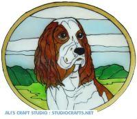 1120 - Spaniel in Frame handmade peelable window cling decoration