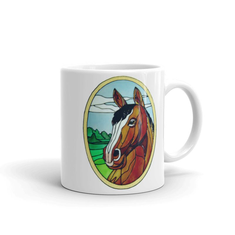 1319 - 11oz Printed Ceramic Mug - Horse Oval