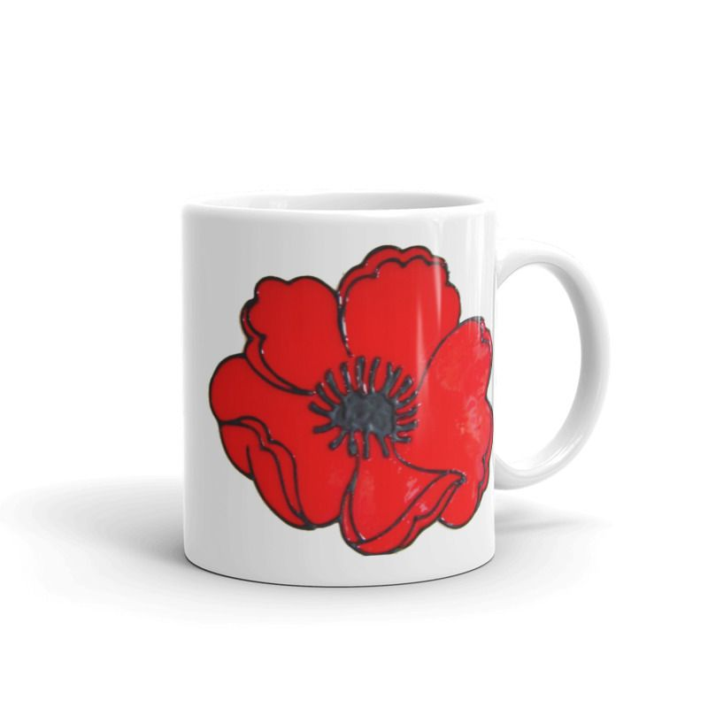1319 - 11oz Printed Ceramic Mug - Poppy
