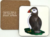 1308 - Puffin Coaster (95mm square)