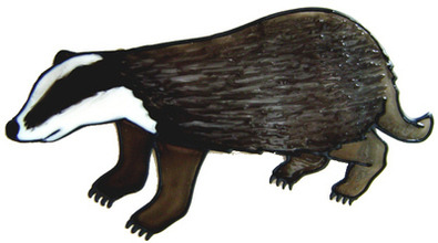 867 - Badger handmade peelable window cling decoration