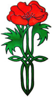 868 - Art Nouveau Poppy handmade peelable window cling decoration