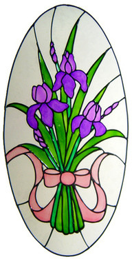 869 - Large Iris Oval handmade peelable window cling decoration