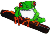 862 - Red Eye Tree Frog handmade peelable window cling decoration
