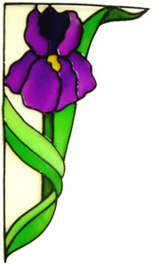 899 - Iris Corner Floral handmade peelable window cling decoration