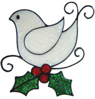 849 - Swirl Bird handmade peelable window cling decoration