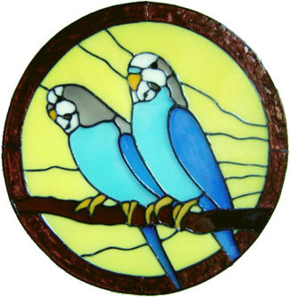 881 - Budgies in Frame handmade peelable window cling decoration