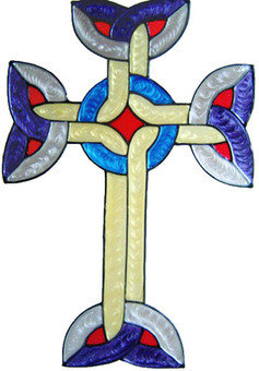 896 - Simple Celtic Cross handmade peelable window cling decoration