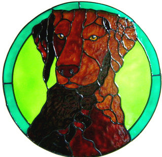889 - Curly Coated Retriever handmade peelable window cling decoration