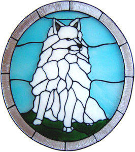 876 - Spitz Dog handmade peelable window cling decoration