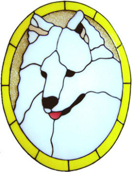 877 - Samoyed Dog handmade peelable window cling decoration