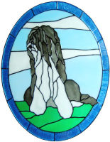 891 - Bearded Collie handmade peelable window cling decoration