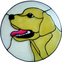 886 - Labrador Dog in Frame handmade peelable window cling decoration