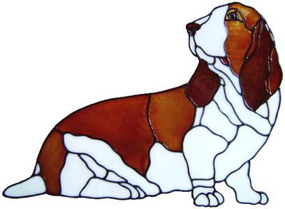 878 - Bassett Hound Dog handmade peelable window cling decoration