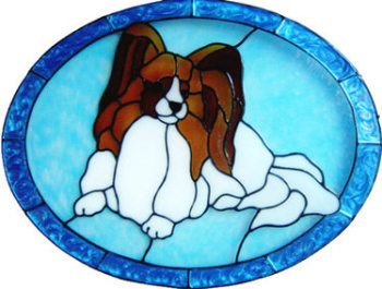 885 - Papillon Dog in Frame handmade peelable window cling decoration