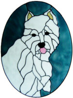 895 - Large Westie Dog Frame handmade peelable window cling decoration