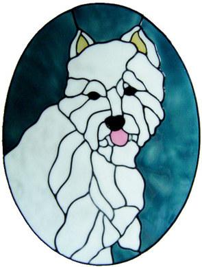 895 - Large Westie Dog Frame handmade peelable window cling decoration