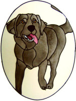 863 - Labrador Dog in Frame handmade peelable window cling decoration