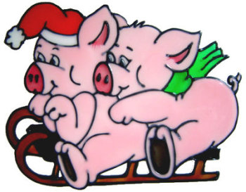 852 - Piggies on Sleigh handmade peelable window cling decoration