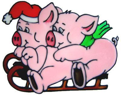 852 - Piggies on Sleigh handmade peelable window cling decoration
