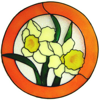 902 - Daffodils handmade peelable window cling decoration