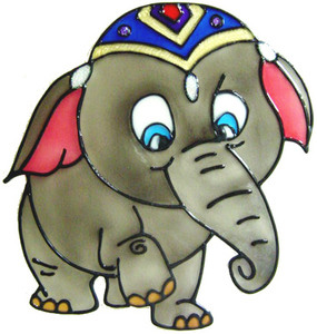 910 - Fancy Elephant handmade peelable window cling decoration